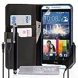 YouSave Accessories HT-DA03-Z567PCU Etui portefeuille en PU cuir avec stylet/chargeur allume-cigare/C�ble micro USB pour HTC Desire 820 Noir