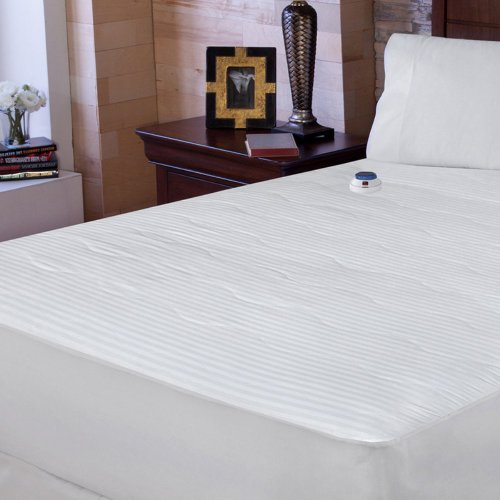 Soft Heat Soft Heat 233 Tc Dobby Stripe Electric Warming Mattress Pad, White / Cream, Cotton, California King