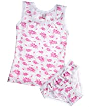 Kid U Not Girls Pink Floral Fantasy Panty and Tank Set. (5/6 years)