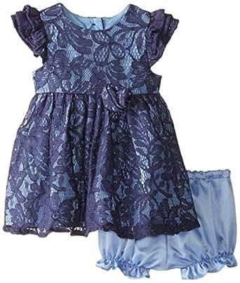 Laura Ashley London Baby Girls Newborn Lace Dress Blue 3