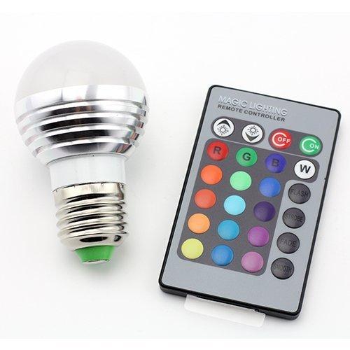 DUMVOIN LED RGB Lampe E27 3W 16 Farben zum Farbwechsel mit IR Fernbedienung für Deko/Bar/Party/KTV Stimmungsbeleuchtung Glühbirne LED Leuchtmittel