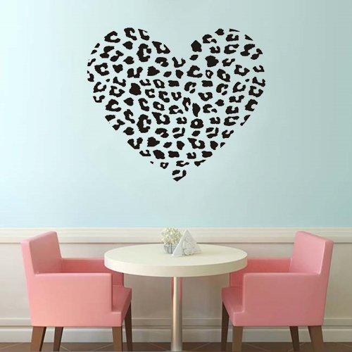 "Colorfulhall 23.7"" X 27.6"" Diy Leopard Spot Stripe Heart Sticker Decal Mural Art Wall Stickers Cheetah Heart Animal Print Wall Decals Art Decor Vinyl Room Home Mural Art front-126724"