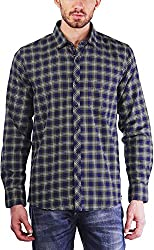 PRIKNIT Men's Cotton Shirt (AF-S1-NAVYG, Navy Blue Checks, 40)
