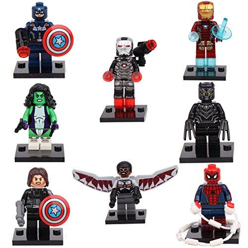 Captain America Civil War Falcon Black Widow 8 Mini figures Building Bricks lEGO (Black Widow Action Figure 12 Inch compare prices)