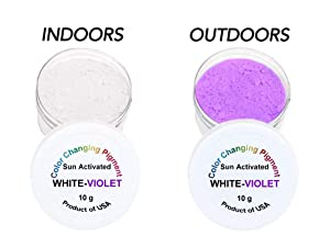 Sun UV Activated Photochromic Powder Pigment White Changing to Violet Perfect for Color Changing Slime Science Projects Arts and Crafts (Color: White-Violet)