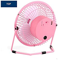 Kupx 6inch Battery Operated Portable Fan Usb Desk Mini Fan with Usb Power Bank Charger 5600mah (usb output pink)