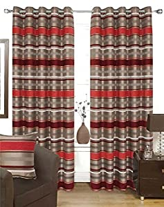 Chenille Striped Red Silver 90x90 Lined Ring Top Curtains #ortem *rap* by Curtains