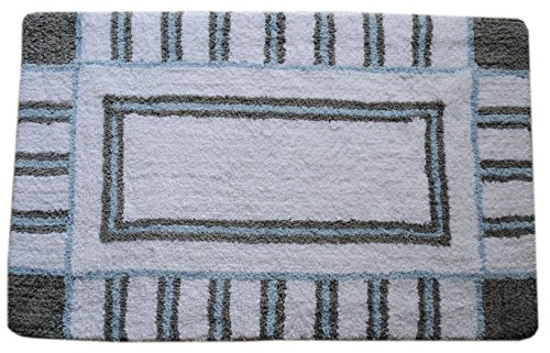 Fancy  Cotton Geoline Large Reversible Grey uamp Blue Bath Rug Size X By Trendsetter Homez Bath Rugs Collections Blue