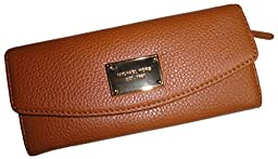 Michael Kors Fulton Slim Flap Brown Pebbled Leather Wallet