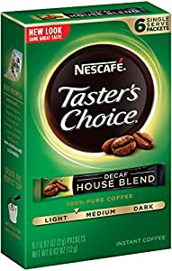 Nescafe Taster's Choice Decaf House Blend Instant Coffee, 6 Count Single Serve Sticks (Pack of 12)