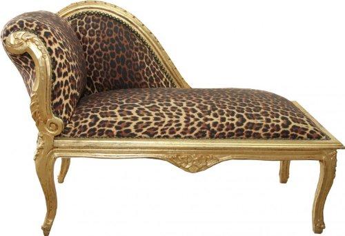Casa Padrino Barock Kinder Chaiselongue Leopard / Gold Mod2 - Tron Barock Möbel