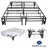 Platform Metal Bed Frame/Foundation Set(SmartBase + Metal Brackets for Headboard & Footboard + Bed Skirt - Queen) -
