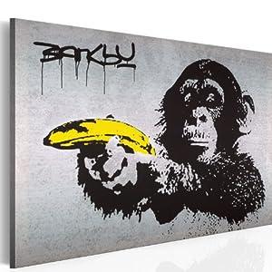 Bilder XXL & Fertig Aufgespannt & Top Leinwand + 1 Teilig + Banksy + Affen + Bananen - Pistole + Graffiti + Wand Bilder 030115-40 + 90x60 cm +++ Riesen Bilder Kunstdruck Wand Bilder +++