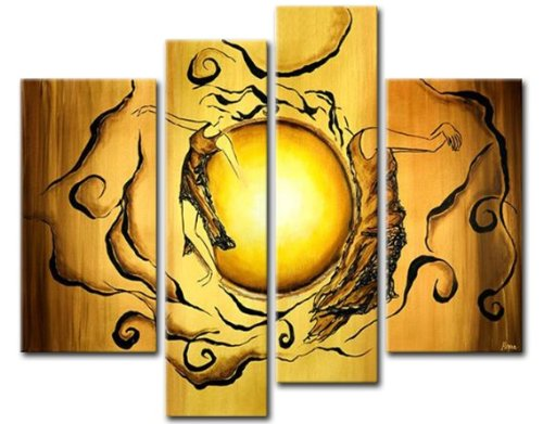 Sangu Wood Framed Figures Of The Sun Abstract Home Decoration Modern Oil Painting Gift On Canvas 4-Piece Art Wall Decor