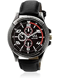 Watch Me Black Dial Black Leather Strap Watch For Boys WMAL-238