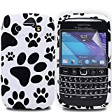 Cooltechstuff Black/White Soft Silicone Gel Case Cover/Foot Print Paws For Blackberry Bold 9790 + Free Screen Protector Included