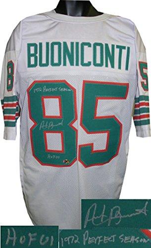 Nick Buoniconti signed Miami Dolphins White TB Prostyle Jersey Dual HOF 01 & 1972 Perfect Season