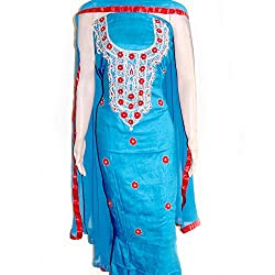 Reet Glamour Women 's Cotton Unstitched Blue With Red Contrasted Punjabi Suit