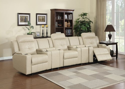 5Pc Modern Transitional Electric Recliner Leather Sofa Set, Ac-Avi-S1