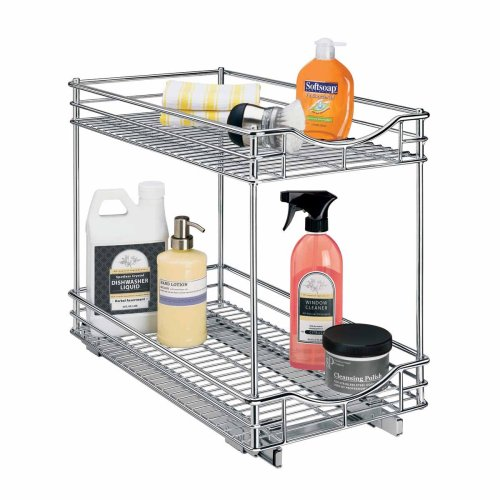 Lynk Professional Roll Out Double Shelf - Pull Out Two Tier Under Cabinet Sliding Organizer -  11 inch wide x 18 inch deep - Chrome (Kitchen Store Cabinet compare prices)