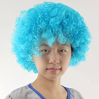 Afro Wig Curly Clown Wig Party Disco Wigs Fan Hairpiece(Light Blue)