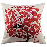 HOSL?Blend Linen Decorative Couple Throw Pillow Cover Cushion Case Couple Pillow Case Life Tree Red for Auto Seat by HOSL