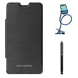DMG Hard Back Flip Book Cover Case For Intex Aqua Style Pro (Black) + Long Flexible Stand + Stylus