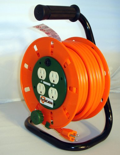 50-Foot 14/3-Gauge Extension Cord Reel With 4Ac Sockets + Circuit Breaker