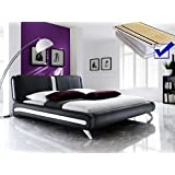 Polsterbett schwarz komplett Bett 180x200 + Lattenrost + Matratzen Singlebett Designerbett Malin