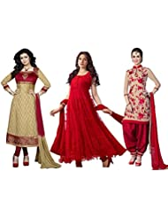 DivyaEmporio Women's Faux Crepe Salwar Suit And Anarkali Dress Material Combo Of 3 Suits - B01JU8OCPQ