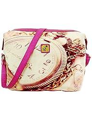 Jajv Women's Canvas & Non Leather Sling Bag (Pink)