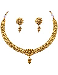 JFL - Traditional & Ethnic One Gram Gold Plated Designer Necklace Set / Jewellery Set For Girls And Women
