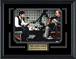 The Godfather Movie. Marlon Brando & Al Pacino. Professionally Framed in the Black Modern Real Wood Frame (15 x 12)