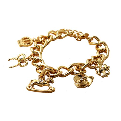 18 k gold finish antique charm bracelet yellow gold processing Swarovski use classic design [parallel import goods] [jewellery] [parallel import goods]