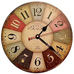 INKola | Colorful Vintage European French Country Tuscan Antique Style Paris Wood Wall Clock, 3 Hands, AA Batteries