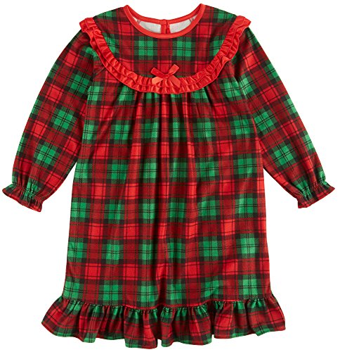 Red & Green Plaid Candlesticks Toddler Girls Holiday Nightgown