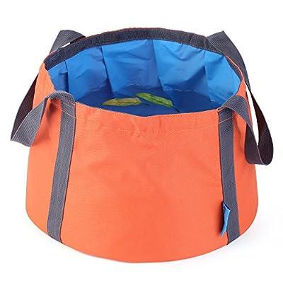 OUTAD 折りたたみバケツ 10L 容量 超コンパクト 収納袋付 (オレンジ)