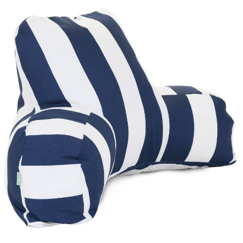Majestic Home Goods Vertical Stripe Reading Pillow, Navy Blue front-1008038