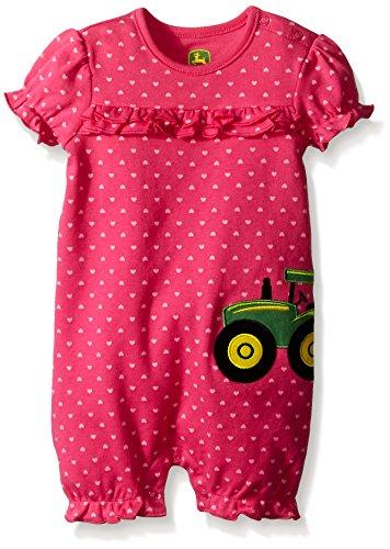 John Deere Baby Girls Tractor Applique Romper, Magenta, 9-12 Months