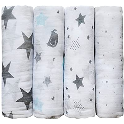 Muslin Swaddle Blankets by CuddleBug - 4 Pack Baby Blanket for Newborns - 4 Color Collections - Swaddle Blanket, Swaddle Wrap, Muslin Swaddle and Receiving Blankets