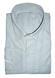 Lords Wear Men's Formal Shirt (LordsWear_Grey Stripe_36)