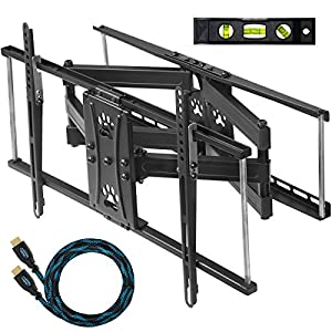 "Cheetah Mounts APDAM2B Articulating Dual Arm TV Wall Mount Bracket with Full Motion Tilt and Swivel for 32-65"" LCD, LED, Plasma, Flat Screen Monitors and Displays Up to VESA 684x400 and 165lbs, Including a Free Twisted Veins 10' HDMI Cable and 6"" Level"