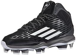 adidas Performance Men\'s PowerAlley 3 TPU Mid Baseball Shoe, Black/White/Grey Metallic, 10.5 M US