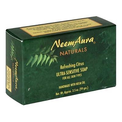 NeemAura Naturals Handmade Ultra Sensitive Bar Soaps with Neem Oil Refreshing Citrus 3.5 oz. (a)