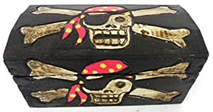 """Pirate Treasure Chest Box, Skull Trunk Wooden Box Pirate Decor, LARGE 16""""- OMA BRAND"""