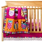 Zutano Blue Owl Bright 4 Piece Crib Set