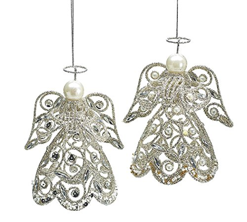 Set of 2 Victorian Christmas Tree Ornaments Accented with Glitter and Pearls