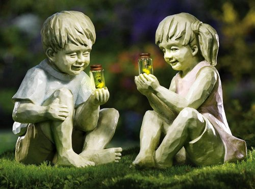Little Boy W/ Firefly Jar Outdoor Garden Statue By Collections Etc