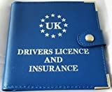 UK Drivers Driving License Car Documents Holder - Blue Leather
