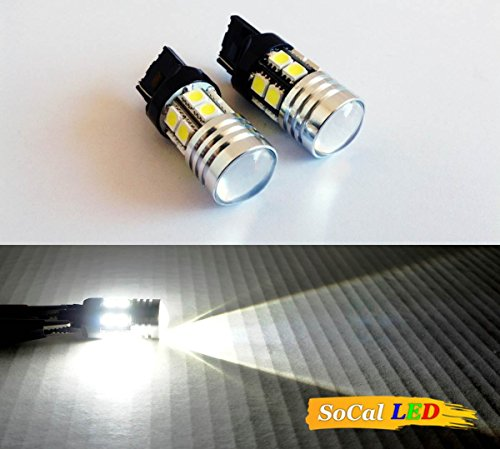 Socal-Led 2Pcs T20 7440 Cree Q5 Led Bulbs + 12Smd 5050 7W Bright White, Car Back Up Reverse Light, Projector Lens
